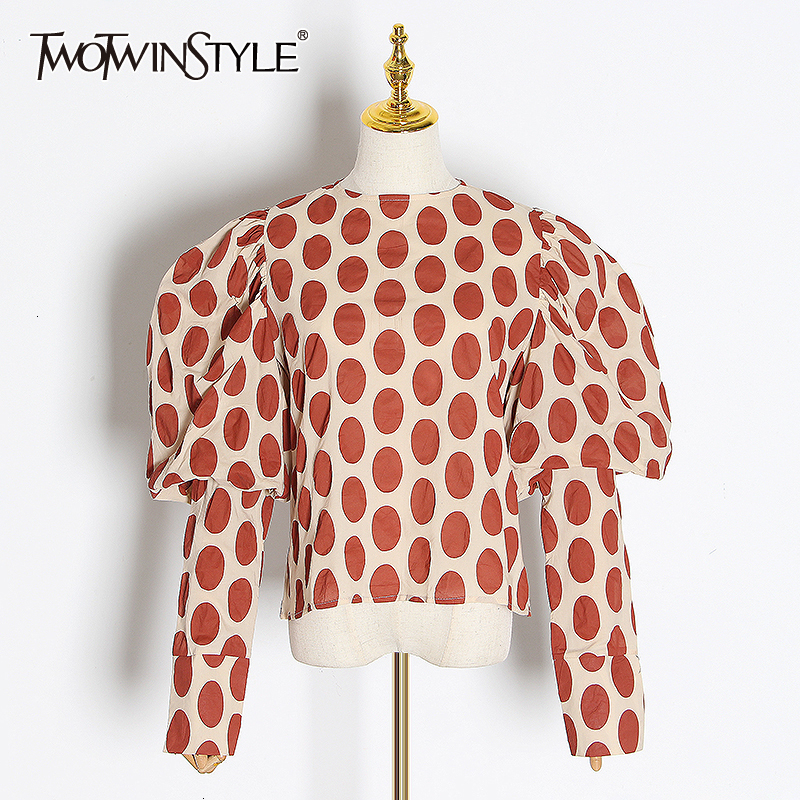 TWOTWINSTYLE Elegant Polka Dot Women's Blouses O Neck Puff Long Sleeve Autumn Shirts Female 2019 OL Style Fashion Clothing Tide