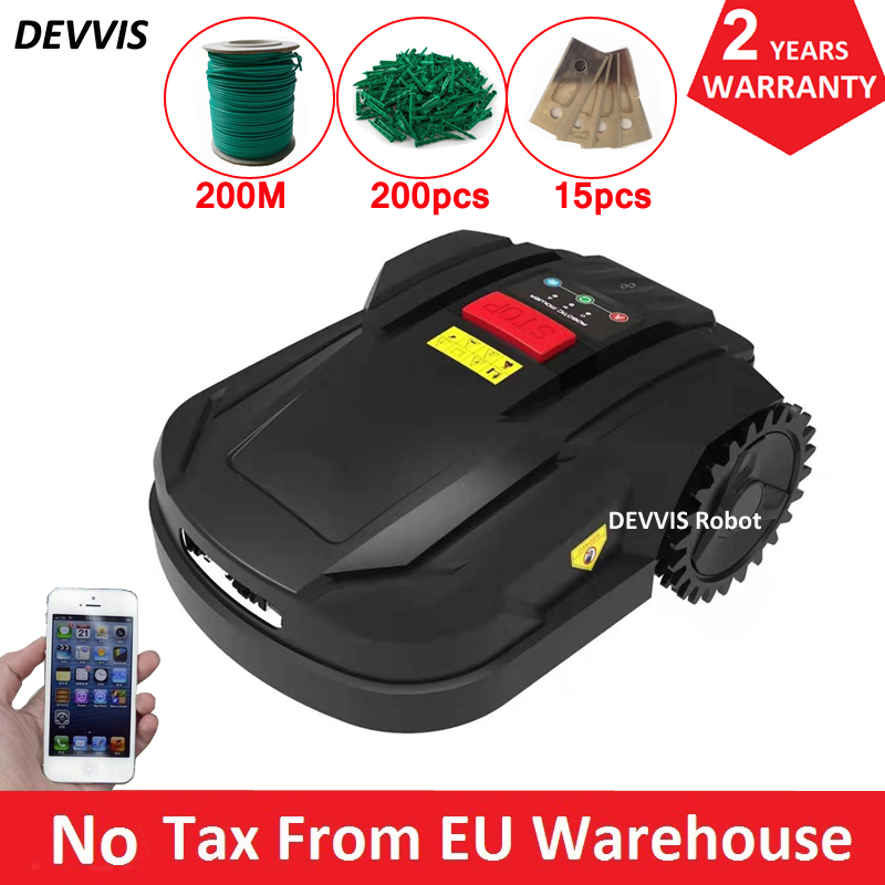 New 7th Cheapest Intelligent Lawn Mower Robot H750 With WiFi App Control, 2.2AH Li-ion Battery,200m Wire,200pcs Pegs