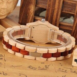 Image 5 - Elegante reloj con forma de Octágono y diamantes de imitación reloj de madera para mujer reloj con brazalete elegante de madera para mujer