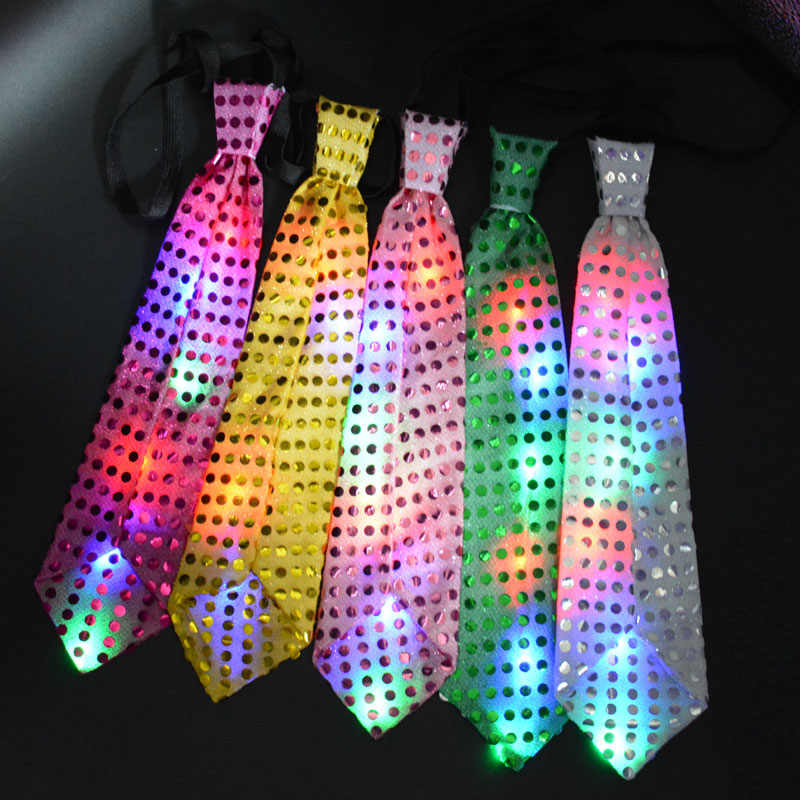 Female Male Glowing tie light up toy flashing led bow tie dancing stage Birthday Party Wedding Decoration Halloween