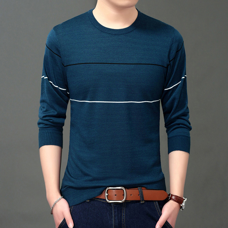Men Sweater Knitted Casual Sweaters Young & Middle-aged Business Tshirt Camiseta Masculina Autumn Winter Long Sleeve Streetwear
