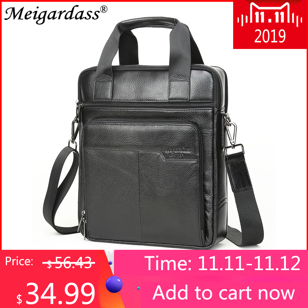 MEIGARDASS Genuine Leather Business Briefcase Men Travel Shoulder Messenger Bags Male Document Handbags Laptop Computer Bag