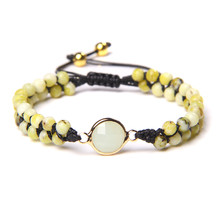 2 Layers Natural Yellow Turquois Stone Beads Braid Bracelets Men Weave Black Rope Adjustable Bangle Quartz Charm Jewelry Women
