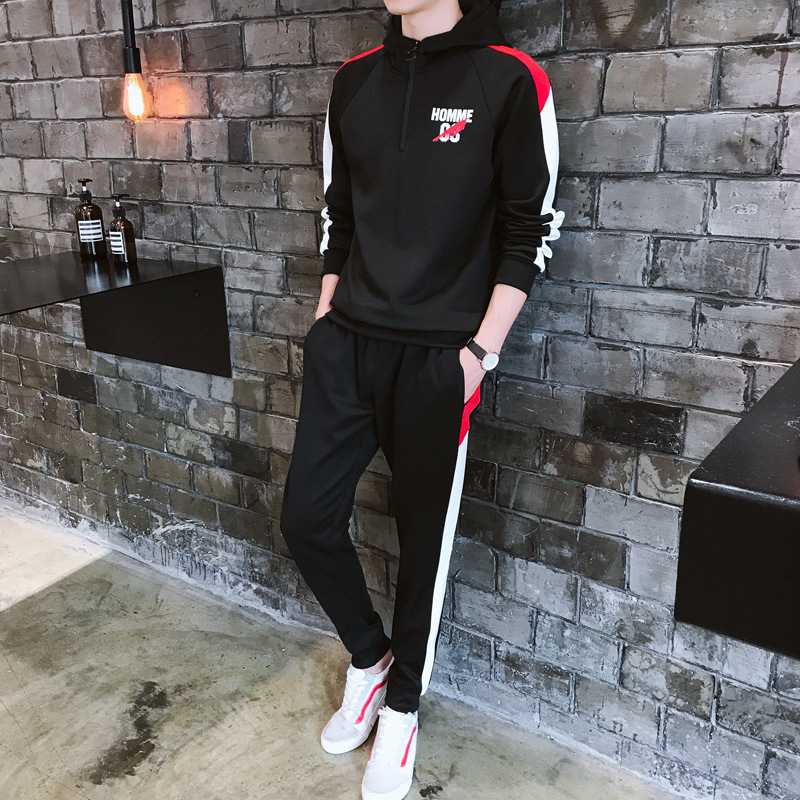 Spring And Autumn New Style Set Sports Casual Hoodie Set Men's Korean-style-Fashion Teenager Hoodie Suit