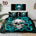 BeddingOutlet Octopus und Schädel Bettwäsche Set Blau Tentakeln Hand Bettbezug set Gothic Bettwäsche Vintage Hause Textilien 3 Stück-in Bettwäsche-Sets aus Heim und Garten bei