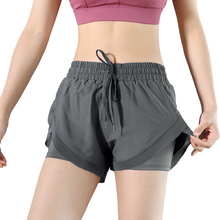 Women Shorts Workout-Fitness-Sportwear Gym Yoga Quick-Dry 2-In-1 Side-Pocket Breathable