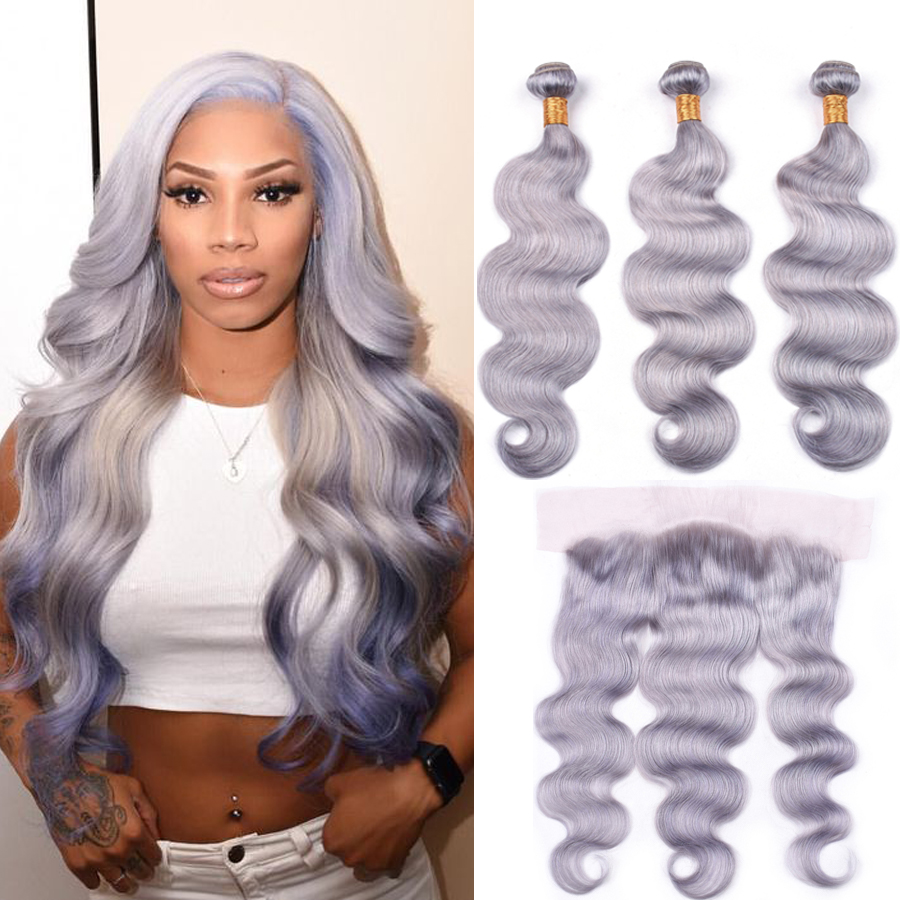 Grey Bundles With Frontal Peruvian Body Wave Human Hair Bundles With Closure 13*4 Ear To Ear Lace Frontal With Bundles Remy Hair