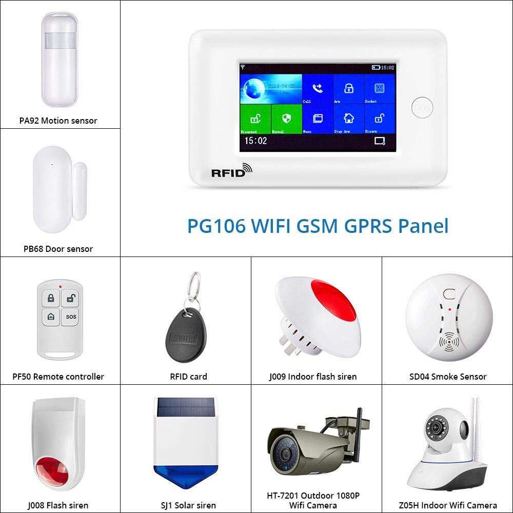 PG106 3G2G GSM WiFi Home Alarm System  DIY Kit Solar Siren IP Camera Support App Control RFID Card Outdoor Camera Smoke Sensor