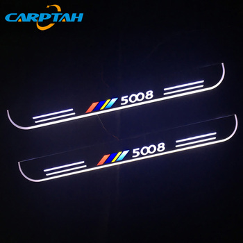 Carptah 4PCS Acrylic Moving LED Welcome Pedal Car Scuff Plate Pedal Door Sill Pathway Light For Peugeot 5008 2018 for opel ampera vauxhall acrylic moving led welcome pedal scuff plate pedal door sill pathway light
