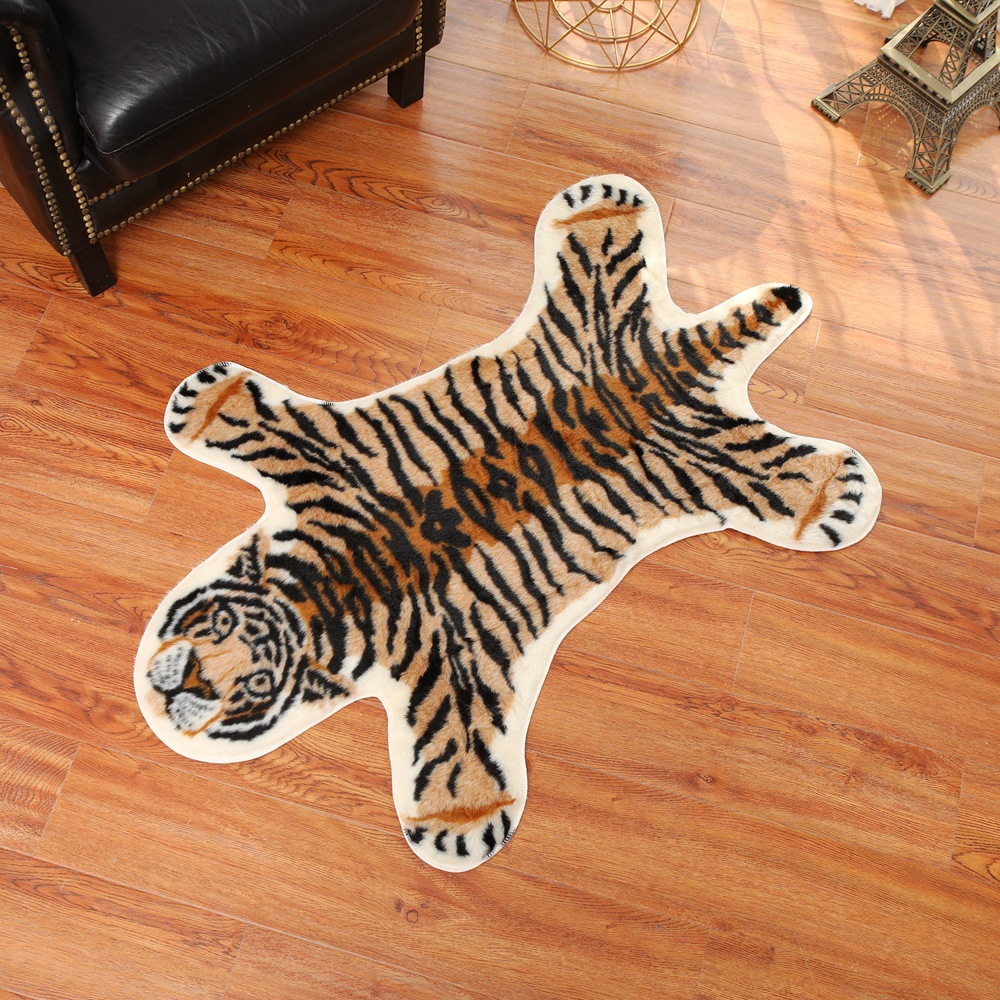 Nordic Imitation Tiger Pattern Rug Faux Skin Leather NonSlip Antiskid Mat Washable Animal Print Carpet For Living Room Bedroom