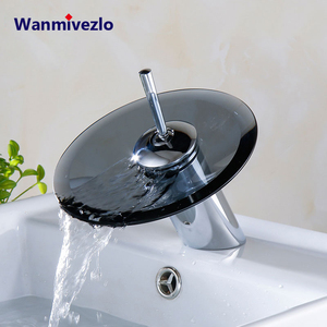 Image 1 - Смеситель для раковины из хромированного стекла, смеситель для раковины в ванной комнате, однорычажный круглый смеситель на палубе