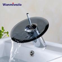 Kolorowe szkło wodospad umywalka łazienkowa bateria do zlewu Chrome umywalka bateria do zlewu pojedyncza dźwignia Deck Mounted Round Mixer Tap