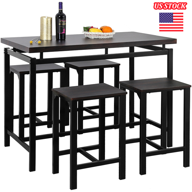 High Bar Dining Table and 4 Chairs Set  1