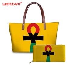 WHEREISART Pan African Ankh Prints Handbag Women Casual Bags 2019 Female Shoulde