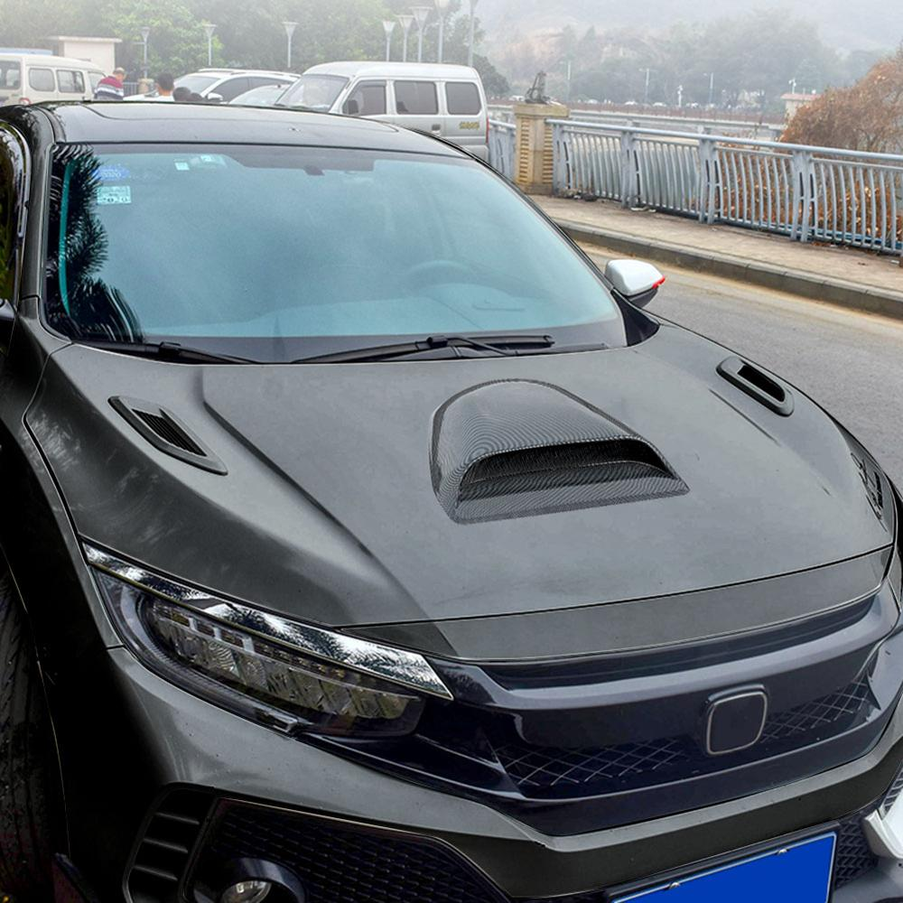 Universal Carbon fiber Car Decorative Cell Air Flow Intake Hood Scoop Bonnet Vent Cover Stickers Decoration Styling
