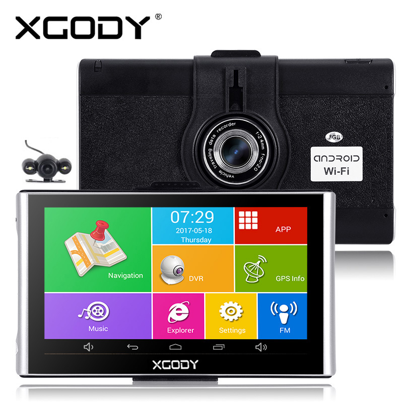 7 Xgody polegada Android Gps de Navegação Do Carro Dvrs 512M 8 GB/16 GB Navigator Com Wi-fi 1080p traço Câmera de Vídeo Recorder Fm AVIN Dashcam