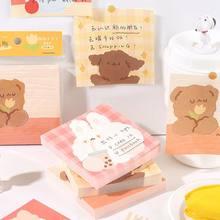 Minkys nova chegada 100 folha kawaii adorável urso leite coelho memorando almofadas notas folhas de papel diário para fazer lista paperlaria papelaria