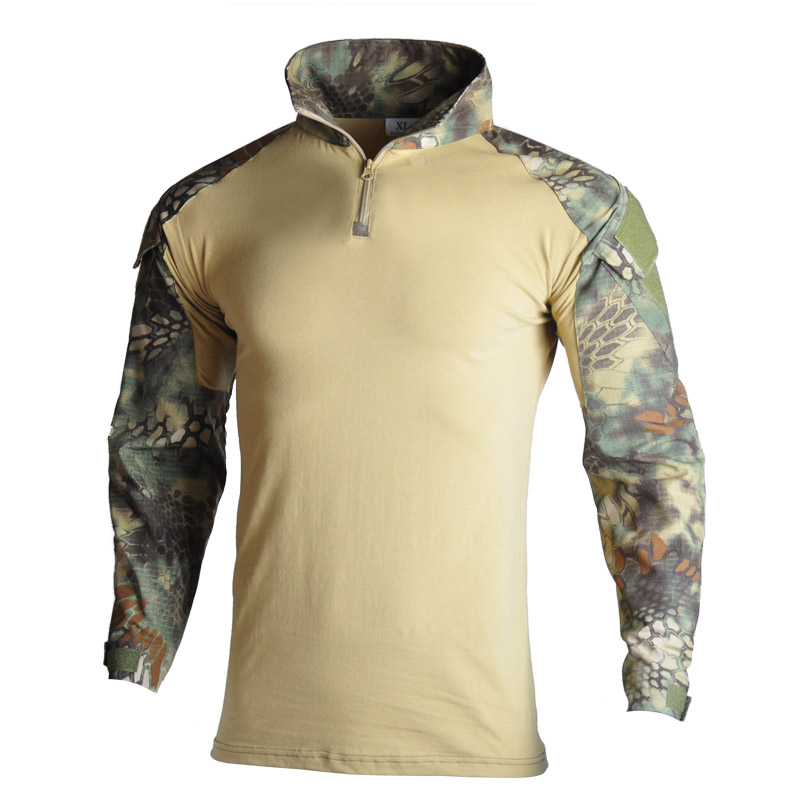 Military Army T-Shirt Men Long Sleeve Camouflage Tactical Shirt Hunt Combat Multicam Camo T Shirt with Elbow Pads