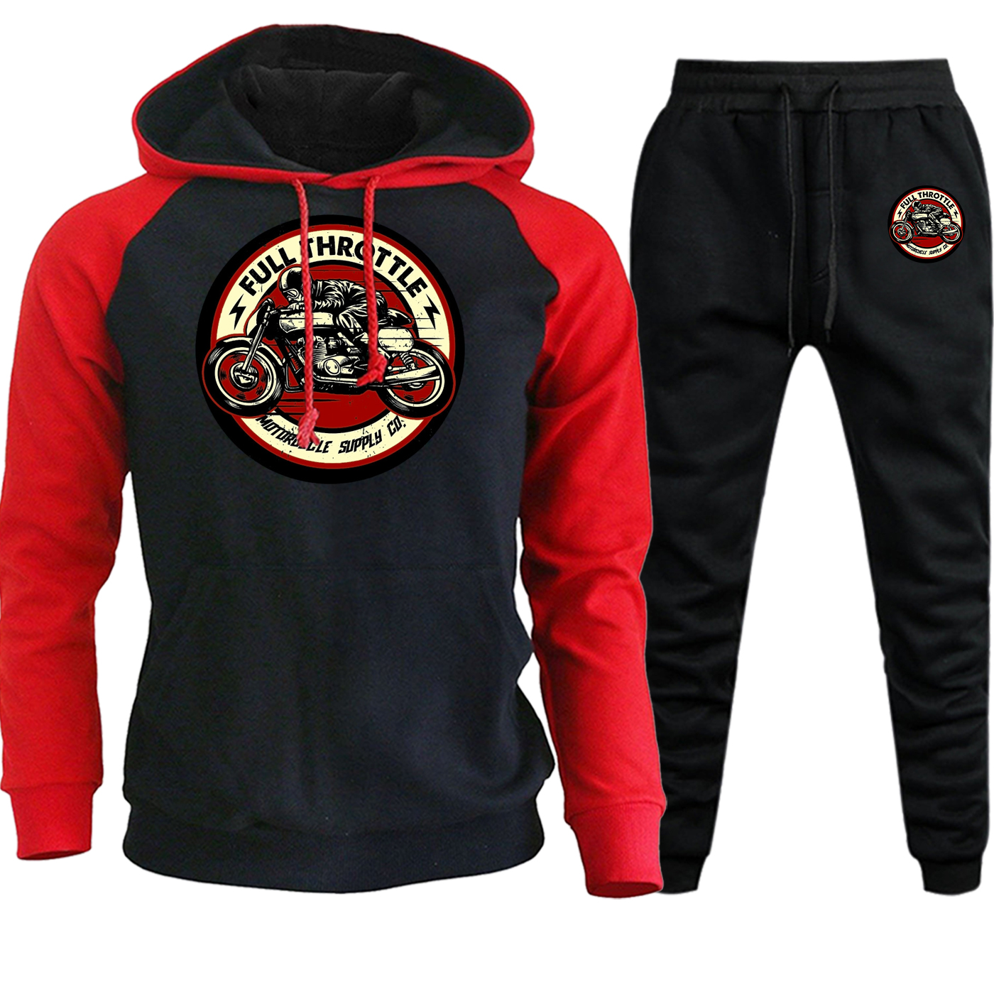 Hooded Men Raglan Sweatshirt Full Throttle Cafe Racer Rockabilly Biker New Autumn Winter Fleece Suit Pullover+Pants 2 Piece Set
