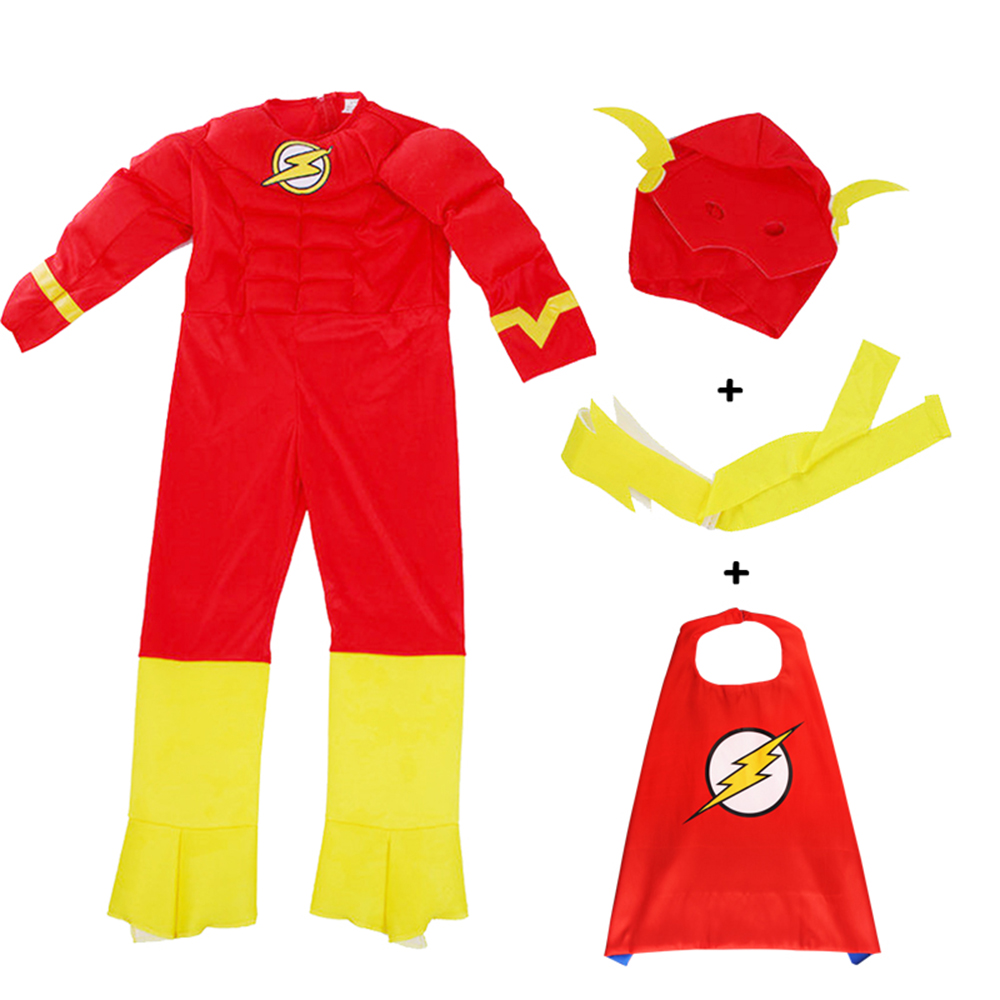 Halloween Kids Clothes <font><b>Flash</b></font> Cosplay <font><b>Costume</b></font> Superhero <font><b>Barry</b></font> <font><b>Allen</b></font> Zentai Bodysuit Children's Set Jumpsuit image