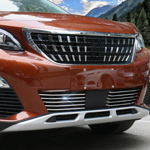 Car styling Stainless steel Front Head Racing Grills Grille Bottom Decoration Strip Trim For Peugeot 3008 GT 2016 2017 2018 2019 цена 2017