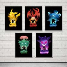 Pokemon Pikachu Anime Poster hight quality canvas painting hight quality home Decor for Children's room No Frame(China)
