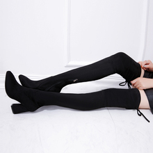 Women Stretch Faux Suede Thigh High Boots Sexy Fashion Over the Knee Boots High Heels Woman Shoes Black