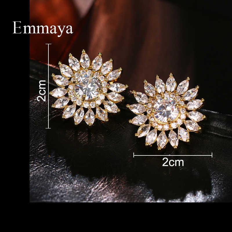 Новые очаровательные серьги Emmaya в форме подсолнуха золотого цвета с цирконием ААА, блестящее украшение, женское отличительное платье для вечеринки