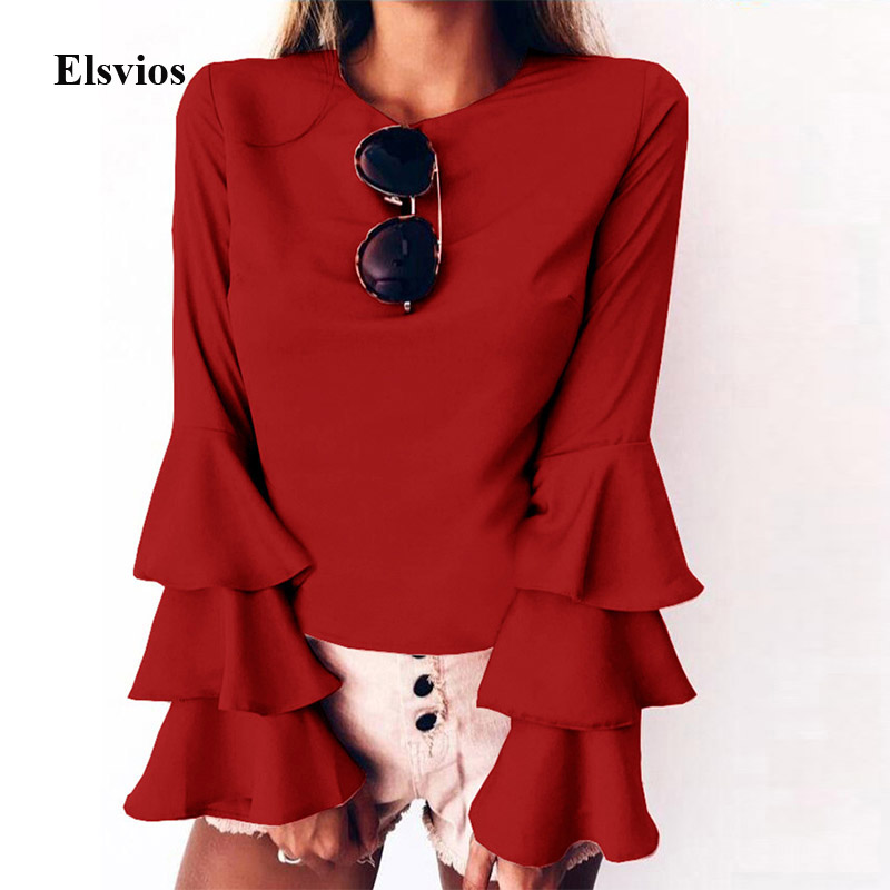 Elsvios 5XL Autumn Multi-Layer Flare Long Sleeve Blouse Solid Women O Neck Blusa Tops Office Ladies Plus Size Blouse Shirt Mujer