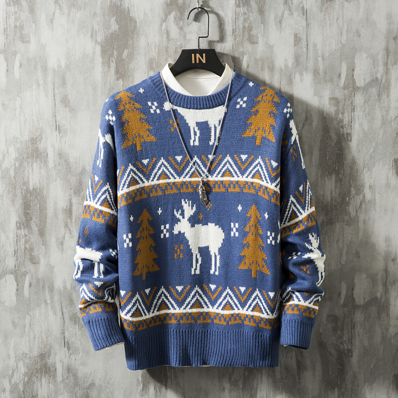 Winter Thick Sweater Men's Warm Fashion Retro O-neck Knit Pullover Men Wild Slim Sweaters Male Clothes Large Size