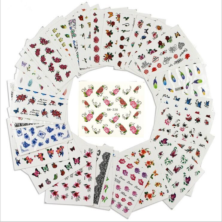 Nail Sticker Wholesale Watermark Nail Sticker 50 One-Case Different-Flower Stickers Currently Available Sticker Set