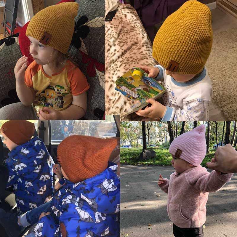 REAKIDS nueva llegada bebé niña niño sombrero de invierno Bebé suave cálido gorro Crochet elástico tejido sombreros niños Casual cálido gorra