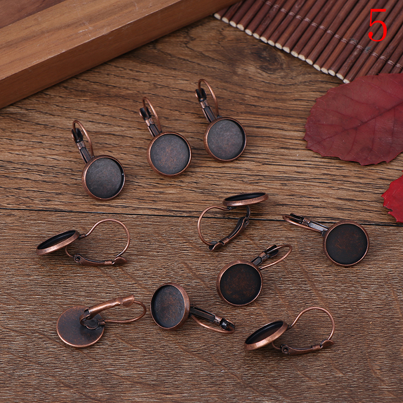 10pcs 12mm Earring Hooks Round Silver Plated Cabochon Cameo Tray Settings Earring Blank Base Supplies For Jewelry 7 Colors