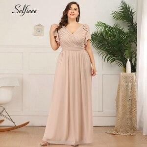 Женские платья больших размеров 4xl 5xl 6xl, новое летнее платье трапециевидной формы с v-образным вырезом и Расклешенным рукавом, длинное шифоновое пляжное платье макси, платья в стиле бохо