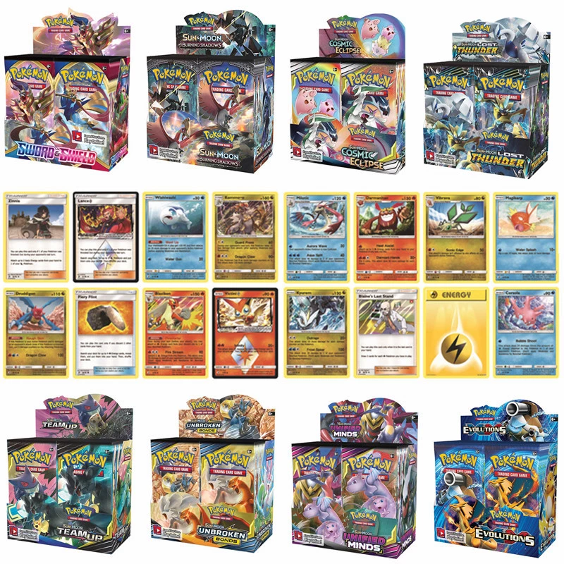 324Pcs Pokemon Cards GXEX English Collectible Game feyenoord Hidden Fates Sword Shield Trading Shining Game Cards Child gift