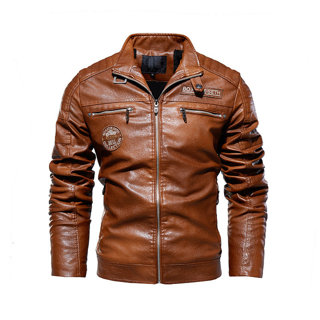 Leather Jacket Men Winter Fleece Motorcycle PU Leahter Jacket Male  Stand Collar Casual Windbreaker Ropa De Hombre Slim Coat 4XL 2