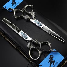 Salon Hairdressing Scissors Japan 440C Steel Professional 6 Inch Craft Dragon Hair Cutting Thinning Set