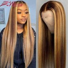 Парики блонд прямые плотность 180 бразильские волосы Remy Предварительно выщипанные 13x4 парики из человеческих волос на сетке спереди цветные ...