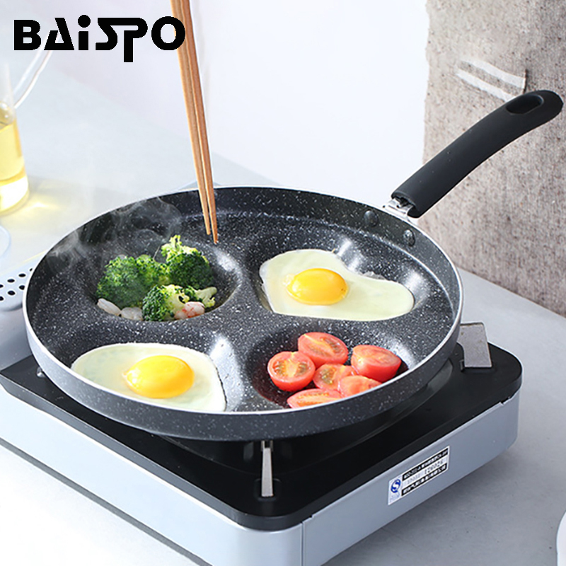 Baispo Four-Hole Omelette Pan Eggs Ham Pancake Maker Frying Non-Stick Pan No Oil-Smoke Breakfast GrillPot Cooking Multifunction