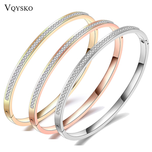 Fashion Jewelry Bangle Bracelets With Two Line Crystal Rhinestone Pave Stainless Steel Opening Bangle For Women Accessories(China)