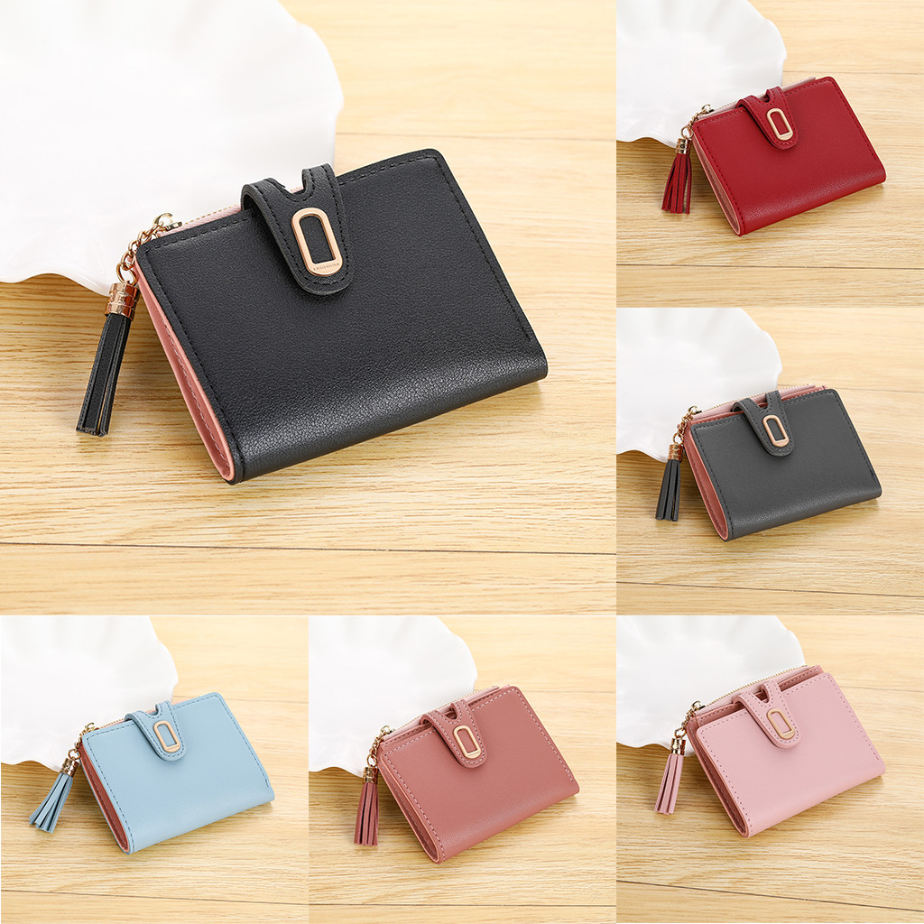 2019 Leather Women Wallet Hasp Women's Short Solid Color Buckle Tassel Mini Female Card Bag Purse Wallet Women Designer Purse