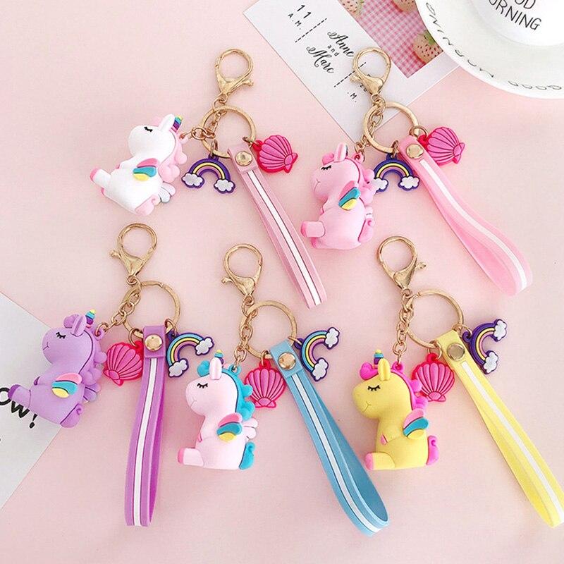 Cartoon Unicorn Small Pendant Plush Toys Keyring Key Pendant Girl Kids Gift Bag Decoration Peluche Silicon Licorne Rainbow Shell