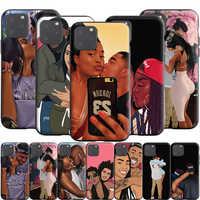 Arte Afro negro beso de pareja funda de silicona para Apple iPhone 12 Mini 11 Pro X XS XR Max 8 7 6S 6 Plus SE 5S