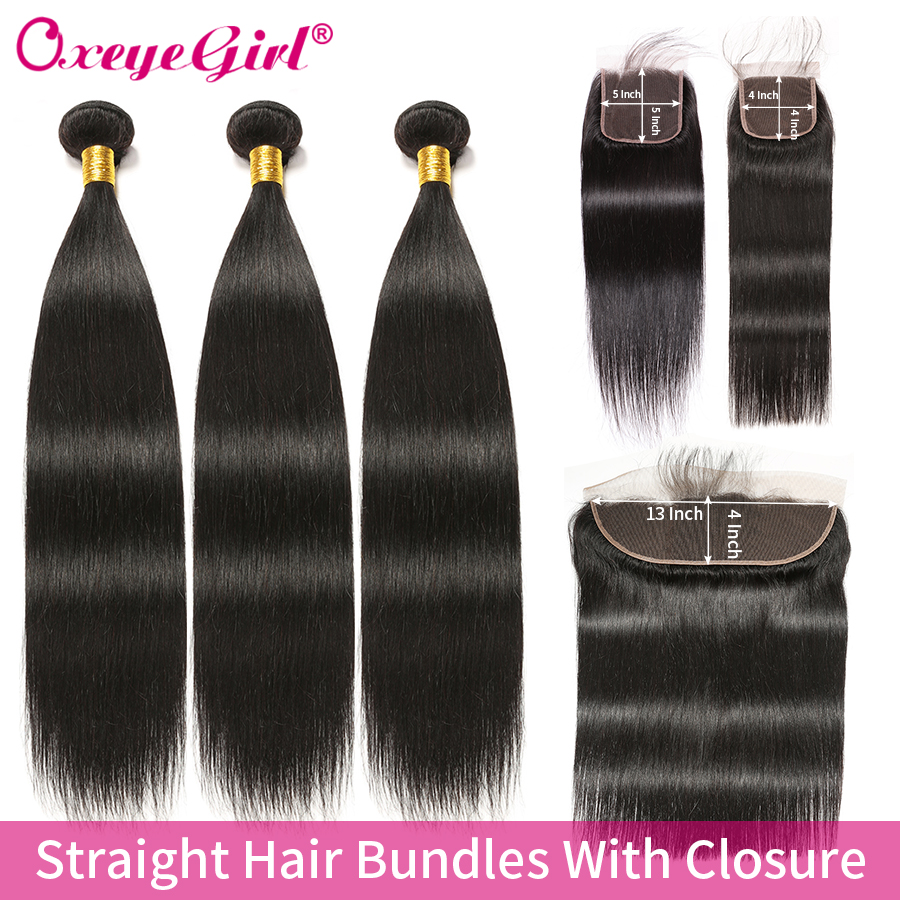 Brazilian Straight Hair Bundles With Closure 5x5 Lace Closure Human Hair Bundles With Frontal Non Remy Frontal With Bundles