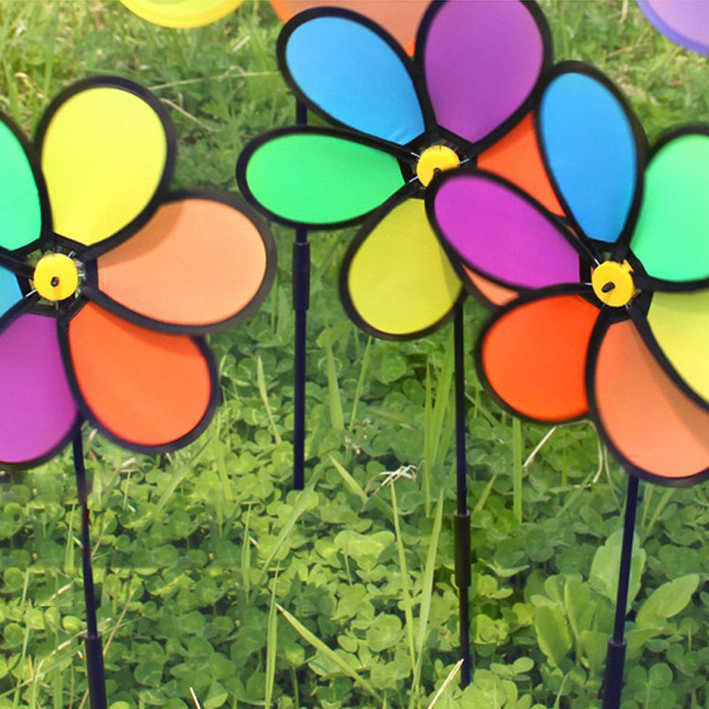 Colorful Rainbow Flower Spinner Wind Windmill Home Garden Yard Patio Outdoor Decoration Kids Toy