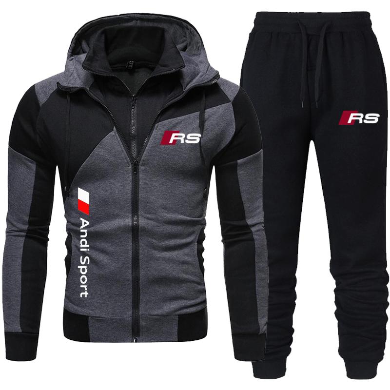 2021 new men's hooded sportswear double zipper suit fashion casual sportswear men's running jacket + sports pants two piece suit