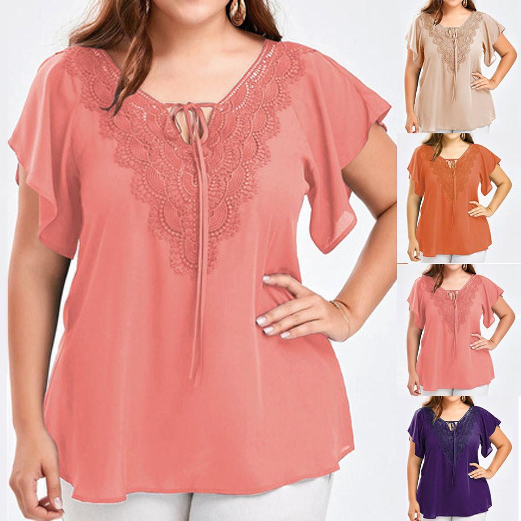 5xl Plus Size Lace Shirts Women Fashion Bandage V neck Tunic Tops Solid Patchwork Short Sleeve Blouse Women Elegant Blusas Mujer