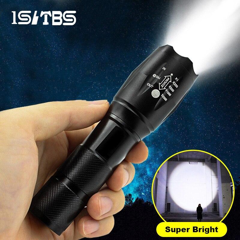 Светодиодный вспышка светильник ультра яркий фонарь T6/L2 на открытом воздухе Водонепроницаемый Масштабируемые Перезаряжаемые 18650 Батарея в...