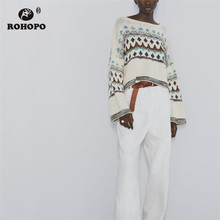 цены ROHOPO Jacquard Loose Autumn Beige Cotton Sweater Slash Neck Baggy Hem Pullover Knitted Top camisa #9542