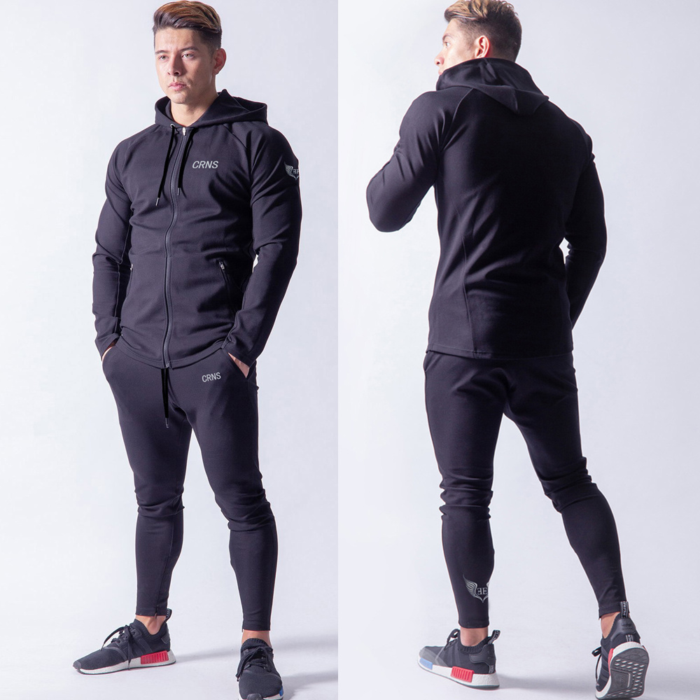 NEW Hoodie Pants Set Mens Tracksuit Casual Sweatshirt Jogger Sweatpants Male Cotton Zipper Jacket Brand Sportswear Suit Trousers